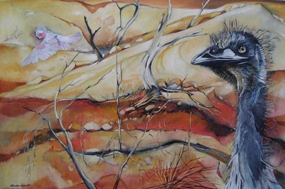 Emu and bird, Mallee